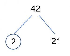 Factors Tree 42 Step 1