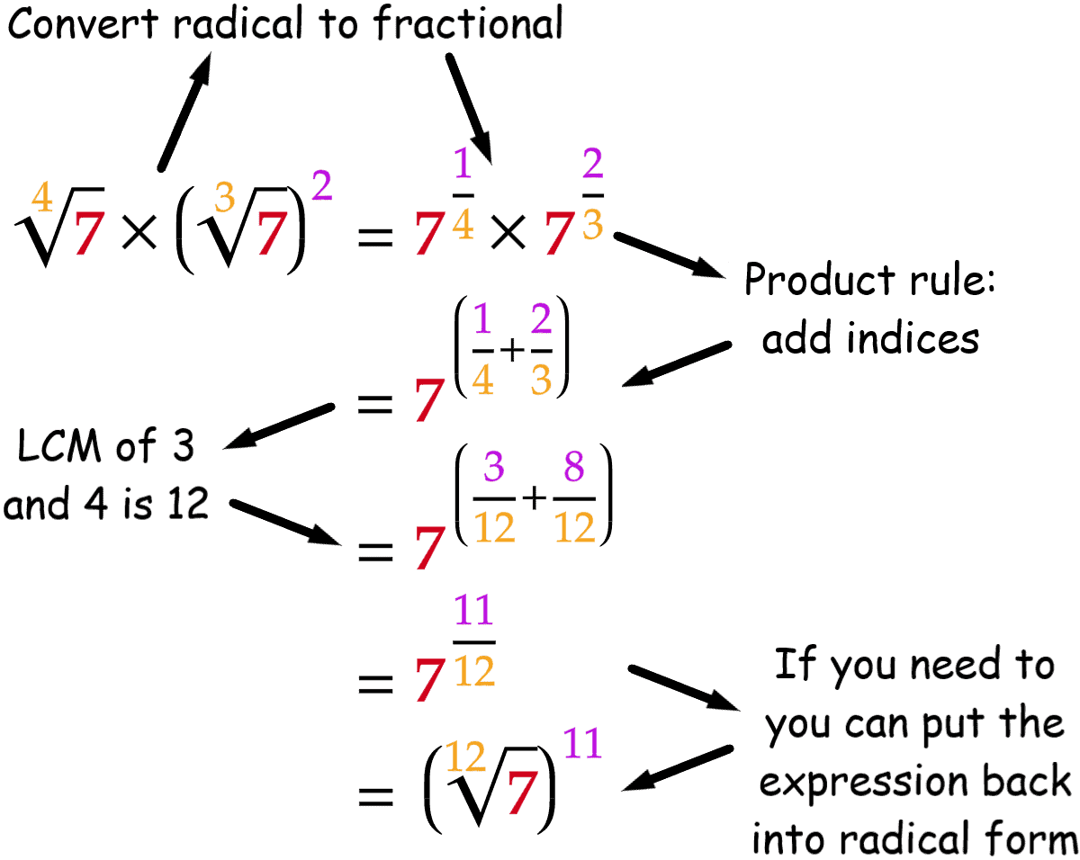 Fractional Exponent Multiplication Worked Example