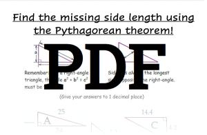 Pythagorean Theorem Worksheet 3 PDF Download