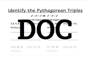 Pythagorean Theorem Worksheet 2 DOC Download