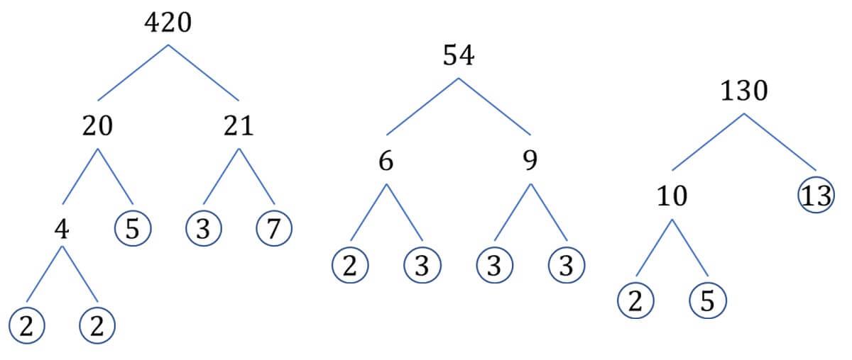 Prime tree examples 420 54 130