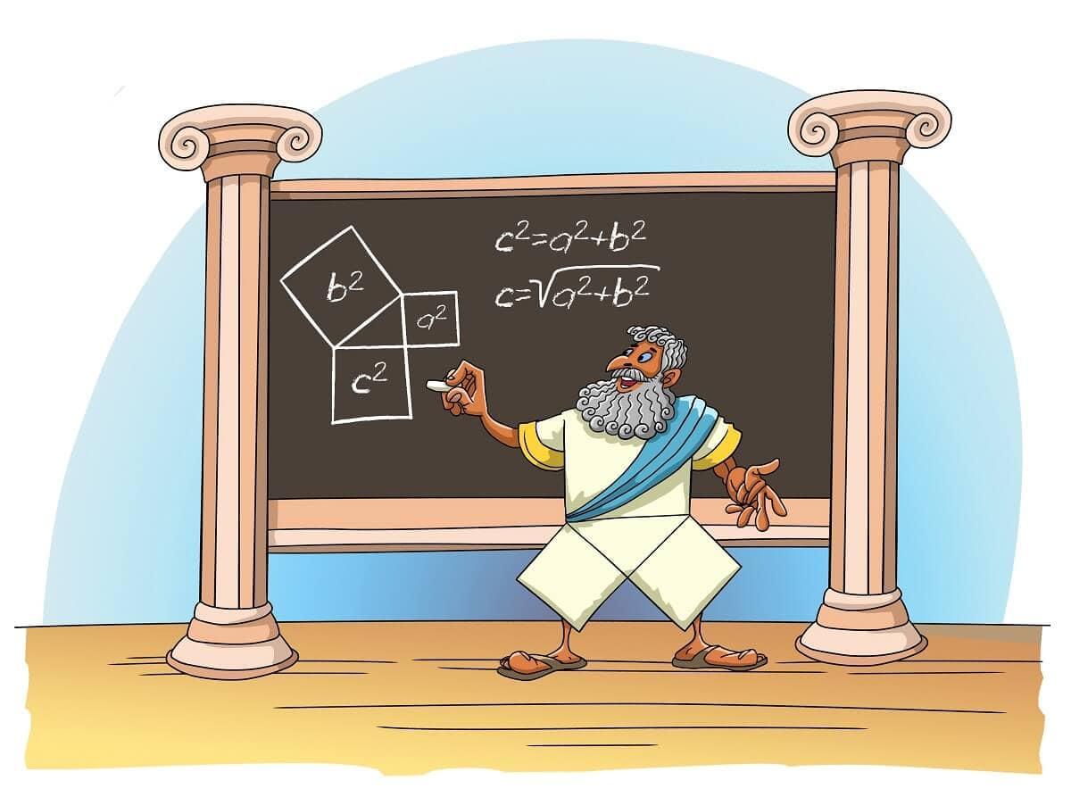 Pythagoras theorem teaching cartoon