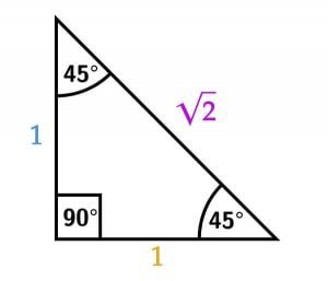 45 45 90 unit length with hypotenuse