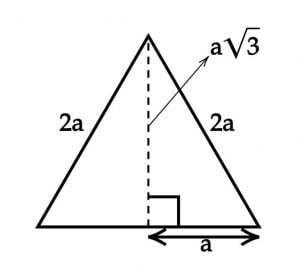 Equilateral bisected into two 30 60 90 triangles