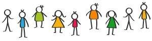 9 Children Stick Figure